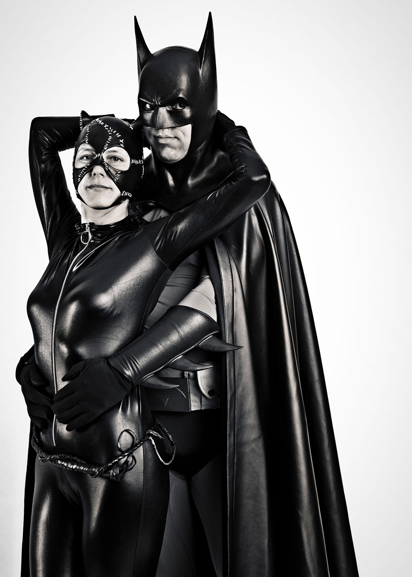 Batman and Catwoman cosplay portrait