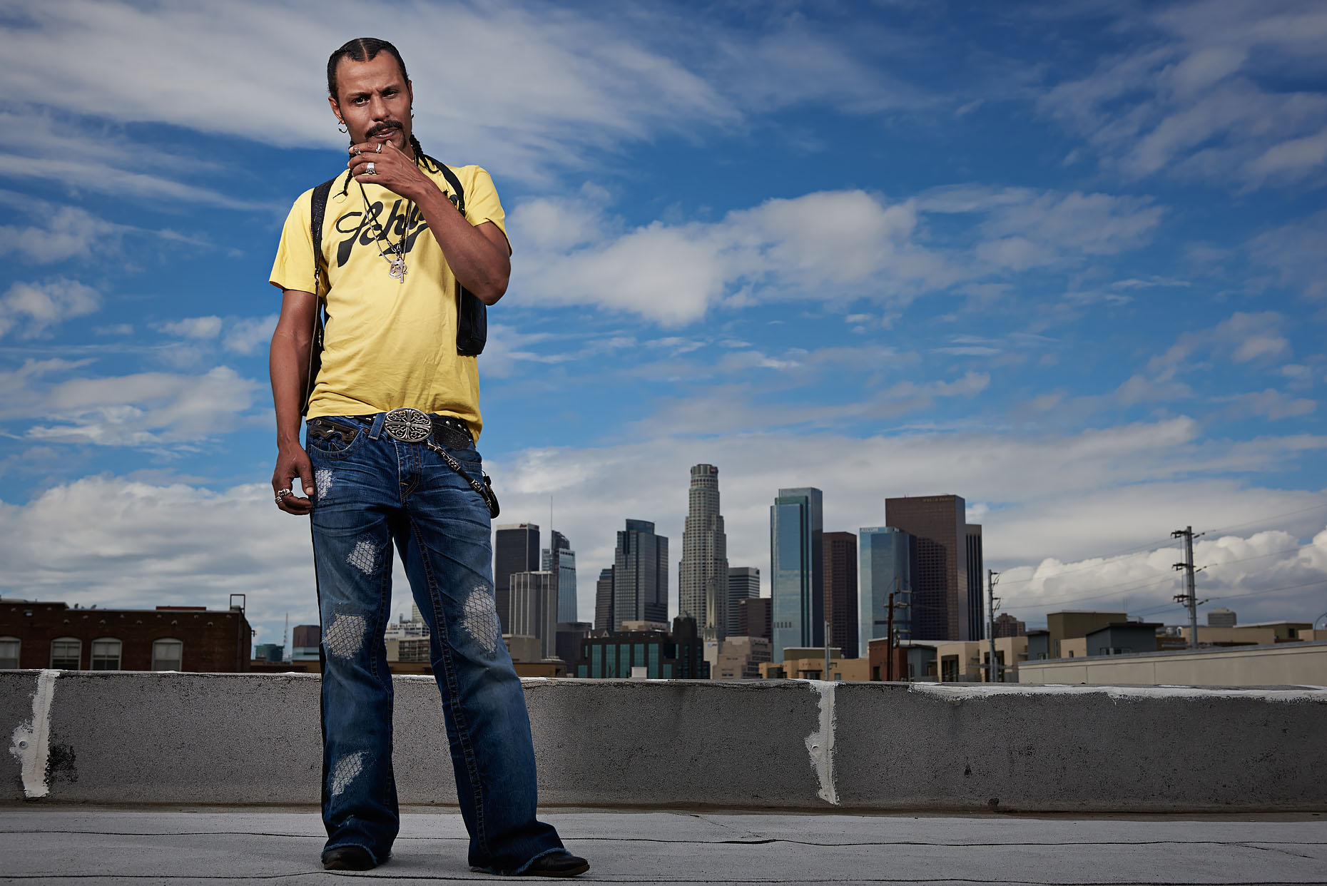 Actor Erick Nathan on an LA rooftop